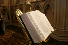 Open bible in church Royalty Free Stock Photos