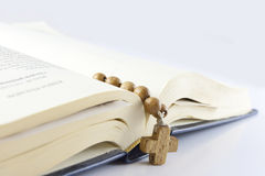 Open bible with cross Royalty Free Stock Photo