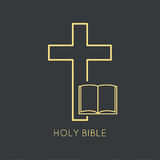 Open Bible with a crucifix. Symbols of Christianity and forgiveness. minimal. Outline vector illustration
