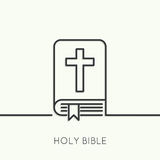 Open Bible with a crucifix. Bible with a crucifix. Symbols of Christianity and forgiveness. minimal. Outline stock illustration