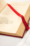 Open bible detail. On an altar Stock Photography