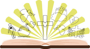 Open Bible with different pictures and rays. Open Bible with different pictures on the background of rays Vector Illustration