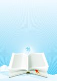 Open Bible at heaven. Open Bible and Dove on sky with Sunbeams.  Vector illustration Stock Photos