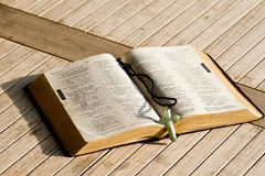 Open Bible. The Holy Bible open up in the centre royalty free stock photography