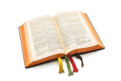 Open Bible. An open Bible isolated on a white background Stock Photography