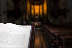 Open Bible on lectern - italian church. Sacro Monte di Varallo holy mountain in Piedmont, Italy - open Bible on lectern - italian church royalty free stock photos