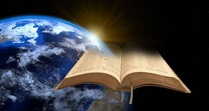 Free Open Bible Prophecy Prophetic Book God Jesus Christ Jah Jehovah Yahweh Religion Religious Armageddon Earth Fire End World Stock Images - 218225454