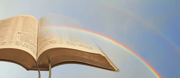Open bible rainbow Royalty Free Stock Photography