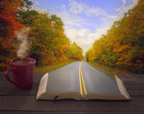 Open Bible and road royalty free stock image