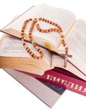 Open Bible and rosary Royalty Free Stock Image