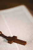 Open bible with rosary beads Stock Photos