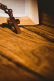 Open bible with rosary beads Stock Images