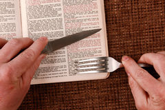 Open bible spiritual food and drink. The open bible spiritual food and drink Royalty Free Stock Images