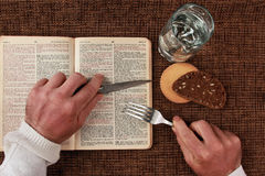 Open bible spiritual food and drink. The open bible spiritual food and drink Royalty Free Stock Photography