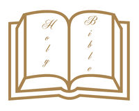 Open bible symbol. Open bible and text symbol on white background Stock Photo