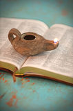 Open Bible and Vintage Lamp Royalty Free Stock Photos