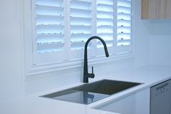 Free Open Bifold Plantation Shutters In A Modern Kitchen. Royalty Free Stock Image - 147554446