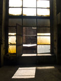 Open big window. Beauty big open window in old industry hall Stock Illustration