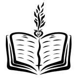 Open bijbel en spruit van het hart vector illustratie