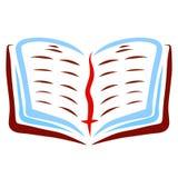 Open Bijbel met een referentie en een kruis, geloof vector illustratie
