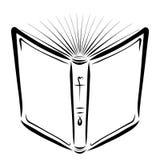 Open Bijbel, schets met zwarte lijnen, godsdienst royalty-vrije illustratie