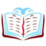 Open Bijbel, vliegende vogel en referentie met een kruis vector illustratie
