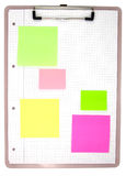 Open binder with post-it notes Royalty Free Stock Images
