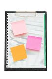 Open binder with post-it notes and blank page. Open binder with post-it notes  and blank page Royalty Free Stock Images