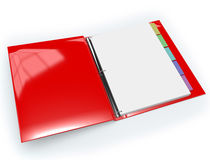 Open Binder. Open red binder ready for content Stock Photos