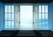 Open binnenlandse deuropening aan koud de winterlandschap bij sneeuwval Stock Afbeeldingen