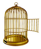 Open Bird Cage. As a golden brass metal prison with an opened door as a symbol of freedom and release isolated on white background vector illustration