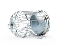 Open birdcage. On a white background Stock Photo