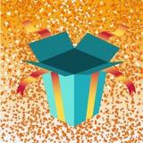 Open birthday giftbox. Vector Illustration of open birthday giftbox on the shiny background Stock Image