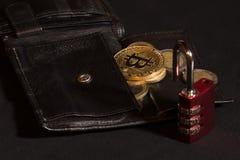 Open bitcoin wallet stock photography