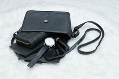 Open black bag with dropped things, notebook, mobile phone, watc. H and purse. Fur on background. Fashion concept Stock Photo
