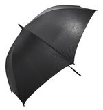 Open black big umbrella isolated on white Stock Photos