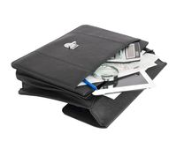 Open black briefcase and business objects Stock Images