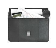 Open black briefcase and business objects. Isolated on white background Royalty Free Stock Image