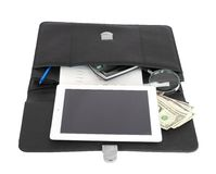Open black briefcase and business objects Royalty Free Stock Photos