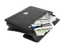 Open black briefcase and business objects Royalty Free Stock Photography