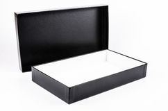 Open black cardboard box Stock Image