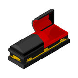 Open black coffin isometrics. Wooden casket for burial.  Royalty Free Stock Photography