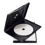 The open black DVD case with disk inside isolated Stock Photography