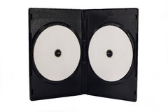 The open black DVD case with disk inside isolated Royalty Free Stock Images
