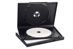 The open black DVD case with disk inside isolated Royalty Free Stock Photo
