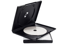 The open black DVD case with disk inside isolated Stock Photo