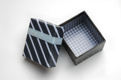 Open black gift box with ribbon and blue lines Top Royalty Free Stock Images