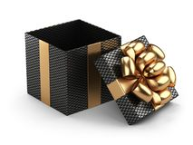 Open black gift christmas box blank with golden bow. Isolated on a white background 3d illustratio Stock Image
