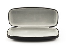 Open black glasses case  on white. Background Royalty Free Stock Image