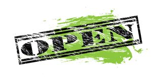 Open black and green stamp on white background. Open black and green  stamp Royalty Free Stock Images